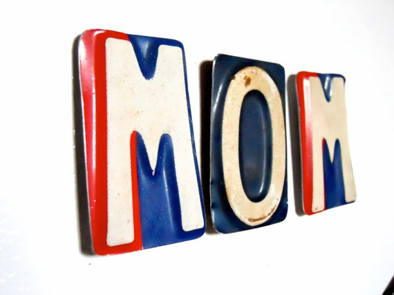MOM Set of Letter Magnets - Recycled License Plates