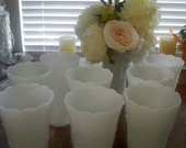 10 Vintage Milk Glass Vases- Teardrop.  Great for Wedding Decor or Anniversary Party.