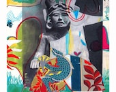 SALE~ Mayan Charm Man -Contemporary Fine Art Print with Mat/ 11 x 14, Mexican, Collage, Wall Decor, NY Artist