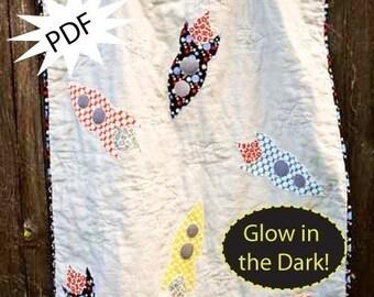 Boy Quilt Pattern, 3,2,1 Blast Off  Quilt PDF Pattern Glow-In-The-Dark, Baby Boy quilt, Toddler quilt, instant download