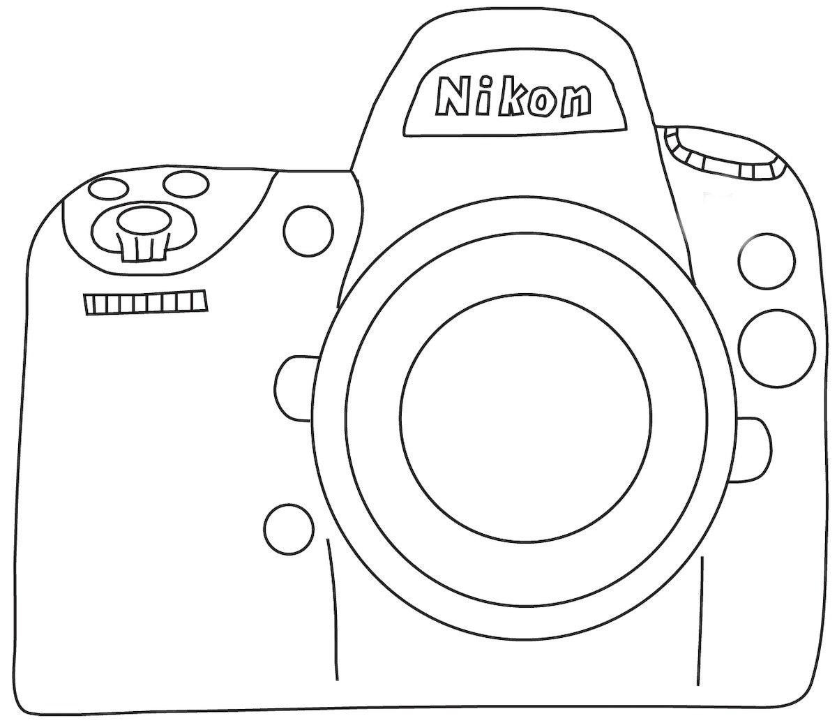 how to draw a nikon camera