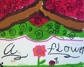 A Flower and A Ladybug - original Painting by Zoe