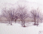Plum Orchard by Gretchen Kelly, watercolor landscape
