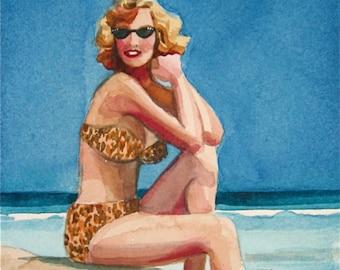 Bathing Beauty Jane - watercolor portrait by Gretchen Kelly