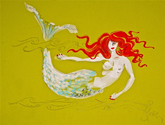 Ginger Chic of the Sea IV - Original Mermaid painting by Gretchen Kelly