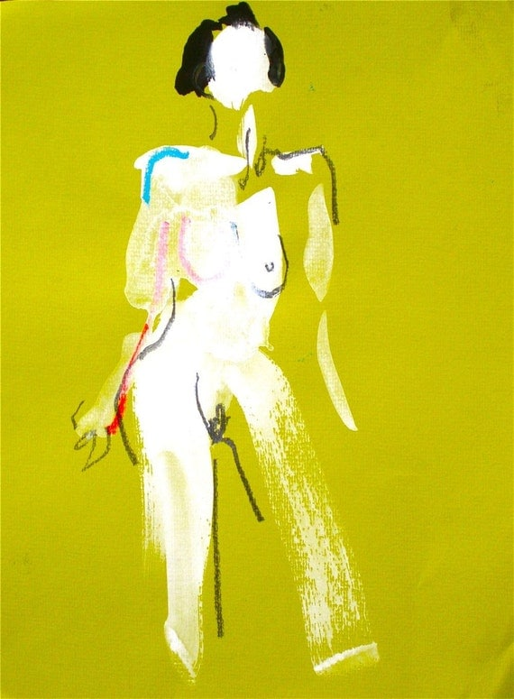 One minute pose LXXX.10 - original painting by Gretchen Kelly