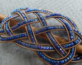 Iris Blue Purple guitar string barrette small