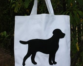 Dog Silhouette Canvas Tote Bag
