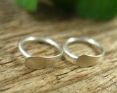 Hoop Earrings Silver Flat - Silver Hoop Earrings, Rook Earring, Daith Earring, Helix Earring, Cartilage Earrings, Tiny Hoop Earrings