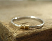 Ring Sterling Silver Hammered with 14k Gold Filled Wrap Stacking Ring/Finger Ring/Knuckle Ring/Thumb Ring/Front Page/Layering Ring/Midi Ring