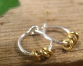 Hoop Earrings Silver Brass Dangles Beaded Hoops, Sleeper Hoops, Everyday Hoops, Tiny Hoop Earrings, Small Hoop Earrings, Minimal Hoop