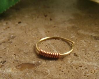 Nose Ring Gold Filled Copper Wrap - Nose Ring, Septum Ring, Gold Nose Ring, Copper Nose Ring, Thin Nose Ring, Discreet Nose Ring, Minima
