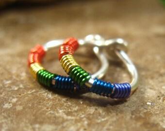 Little Hoop Earrings Silver Rainbow Wrap Hoops - Pride Hoops, Gay Pride Hoops, Chakra Hoops, Mens Hoop Earrings, Color Wrap Hoops, Tiny