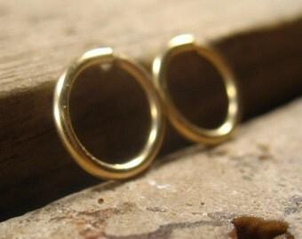 Gauged Hoop Earring Endless Gold Gold Hoop Earrings/Thick Gauge Earrings/Stretcher Hoops/Mens Hoop Earring/8mm Earring/10mm Earring/12mm