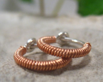 Hoop Earring Sterling Silver Full Copper Wrap - Beaded Hoops, Wrapped Hoops, Copper Hoop Earrings, Mens Hoops, Active Hoops, Sleeper Hoops