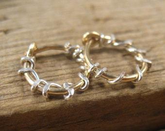 Hoop Earrings Gold Silver Squiggles - Sleeper Hoops, Huggie Hoops, Everyday Hoops, Small Hoop Earrings, Tiny Hoop Earrings, Delicate Hoops