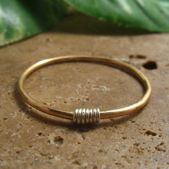 Rings Gold Filled with Silver Wrap - Stacking Ring, Gold Stacking Ring, Gold Band Ring, Midi Ring, Thumb Ring, Knuckle Ring, Plain Gold Ring