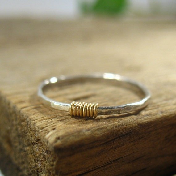 Ring Sterling Silver Hammered with 14k Gold Filled Wrap - Stacking Ring, Finger Ring, Knuckle Ring, Thumb Ring, Front Page, Layering Ring