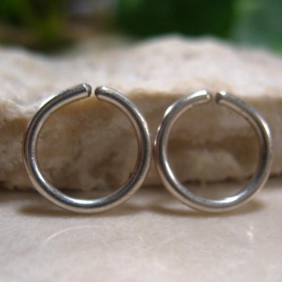 Gauged Hoop Earrings Endless Silver - Thick Gauge Hoops, Piercing Jewelry, Mens Hoop Earrings, Stretcher Hoops, 16 Gauge Hoops