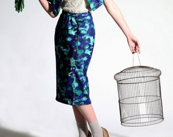 Pencil Skirt - 'Miss Beaton Takes a Walk' in riverbank watercolur