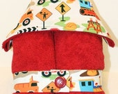 Toddler Boy Hooded Towel-- Dig It Construction Zone on Bright Red