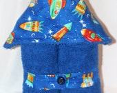 Outer Space Kids Plush Hooded Towel -- Rocketship to the Moon