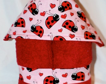 Girls Plush Hooded Bath Towel- Lovely Ladybug on Pink or Red