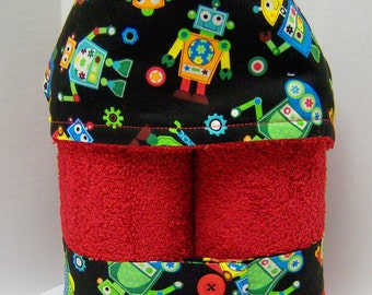 NEW Boy's Plush Hooded Towel- Rowdy Robot on Red -- GREAT GIFT