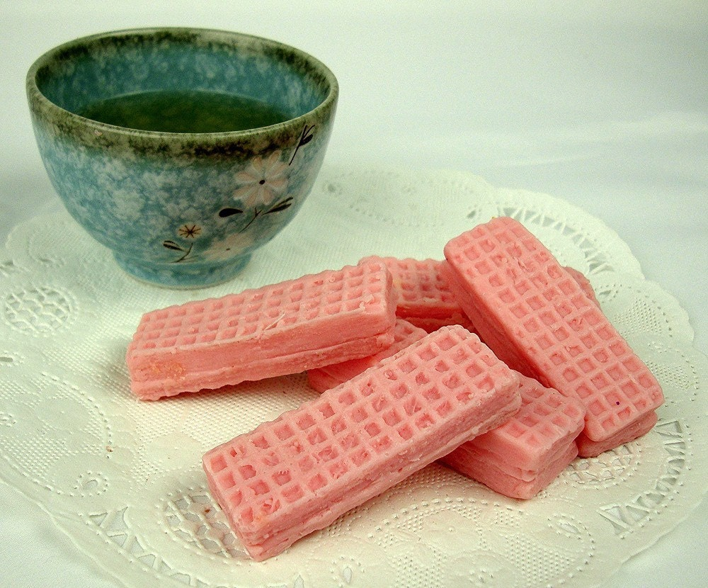 Pink Sugar Wafer Cookies Mini Guest Soaps by soapopotamus on Etsy