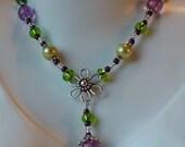 Necklace Earrings Set Green Pearls Sterling Silver