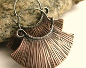 Copper Earrings, Sterling Silver And Copper Hoops, Ethnic Hoop Earrings Mixed Metal Earrings, Artisan Earrings, Rustic Metalsmith Jewelry