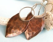 Large Tribal Earrings, Copper Earrings, Forged Sterling Silver And Copper Shield Earring, Mixed Metal Earrings, Artisan Metalsmith Jewelry