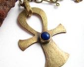 Lapis Lazuli Ankh Necklace - Bronze Ankh Jewelry - Ancient Egyptian Symbol -  Metalsmithed Necklace
