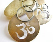 Om Earrings Large Bronze, Sterling Silver Earrings, Aum Metaphysical Jewelry, Mixed Metal Earrings, Symbolic Sanskrit Earrings, Yoga Jewelry