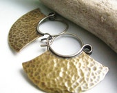 Small Tribal Hoop Earrings, Sterling Silver And Bronze Mixed Metal Earrings, Blade Hoops, Artisan Metalwork Jewelry, Hammered Earrings