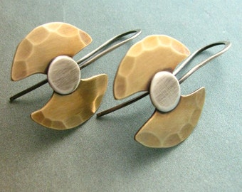 Ax Tribal Earrings, Labrys Earrings, Bronze And Sterling Silver Mixed Metal Earrings,  Double Axe Earrings, Symbolic Metalsmith Jewelry