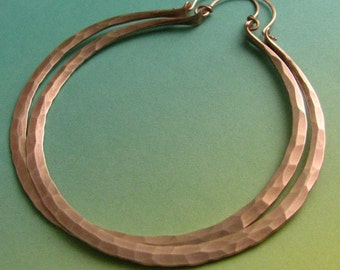Extra Large Copper Hoop Earrings, Hammered Mega Hoops, Big Copper Earrings, Large Earrings, Large Hoops, Large Hoop Earrings