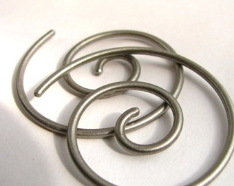 12 Gauge Earrings, Endless Spiral Hoops, 12 Gauge Hoops, Silver Color Titanium Hoop Earrings, Spiral Earring Infinity Hoop Metalwork Jewelry