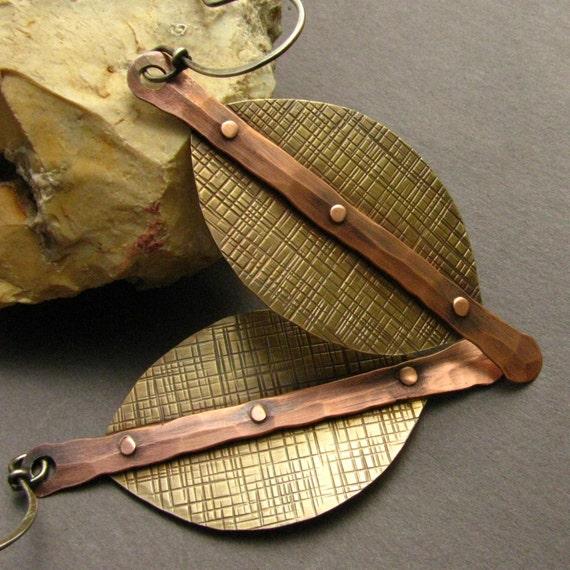 Shields - Mixed Metal Earrings. Copper, Brass, Sterling Silver