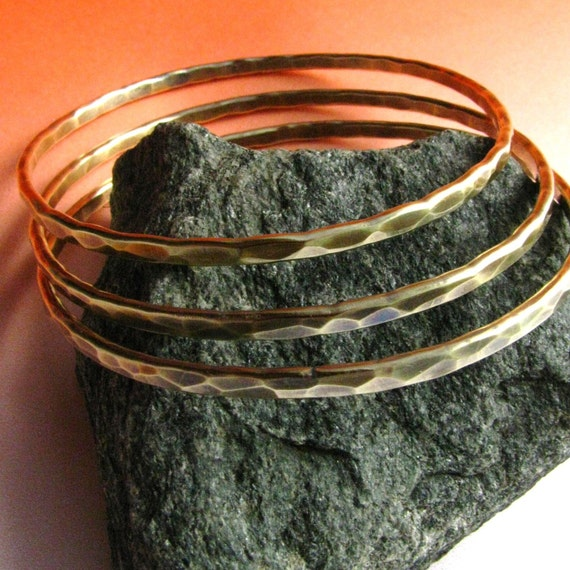 RESERVED FOR COSMIC - Forged Brass Bangle Bracelets - Set Of Three - Hammered Rustic Metal Bracelets - Metalwork Jewelry