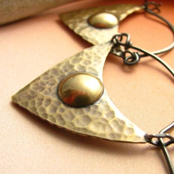 Modern Tribal Earrings -  Mixed Metal Hoops Brass And Sterling Silver Metalwork Jewelry - Hoop Earrings