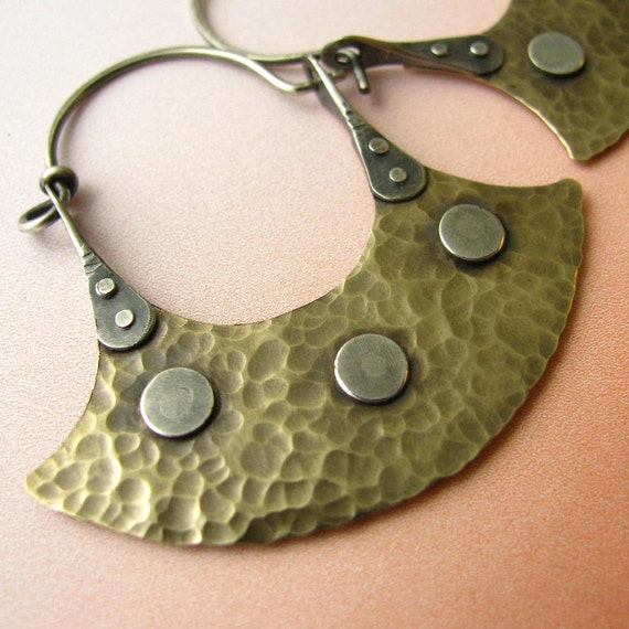 Riveted Tribal Earrings  -  Mixed Metal Bronze And Sterling Silver Blade Hoop Earrings - Artisan Metal Jewelry