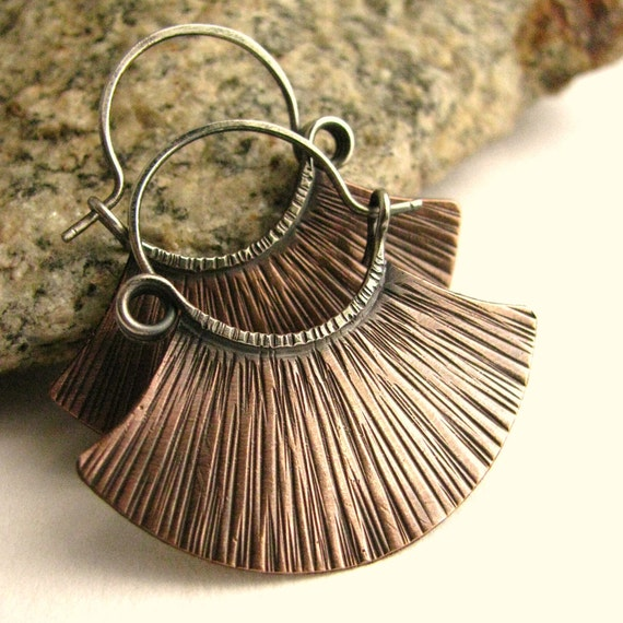 Sterling Silver And Copper Ethnic Hoop Earrings Mixed Metal Artisan Metalsmithed