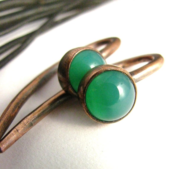 Gemstone Talon Gauged Earrings -  Emerald Green Chalcedony And Copper 10G 10 Gauge Earrings For Stretched Piercings