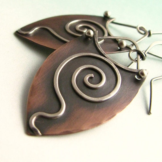 Mixed Metal Rustic Earrings -  Spiral Copper Earrings With Sterling Silver - Modern Tribal Jewelry - Metalsmith Jewelry