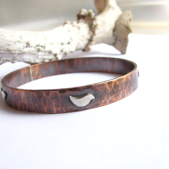Sterling Silver And Copper Bangle Bracelet - Bird Bracelet - Mixed Metal Bangle - Metalsmith Bird Jewelry - Copper Jewelry