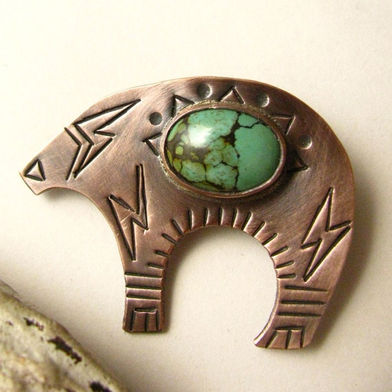 Zuni Inspired Bear Brooch -  Turquoise Brooch -   Copper Pin  Modern Tribal Metalsmith Copper Jewelry - Copper Bear Pin