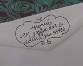 Ingrid Address Stamp (Red Rubber on Wood Block)