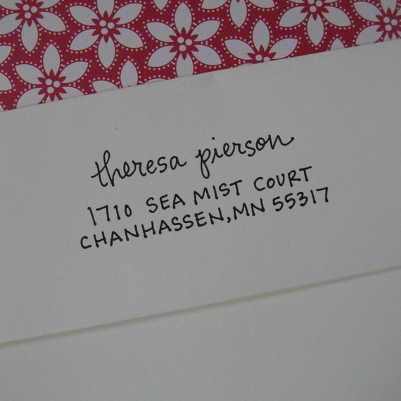 Emerson Address Stamp (Red Rubber on Wood Block)