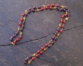Autumn Patterns in Harvest - 29 inch Necklace - Carnelian, Citrine and Amethyst with Copper